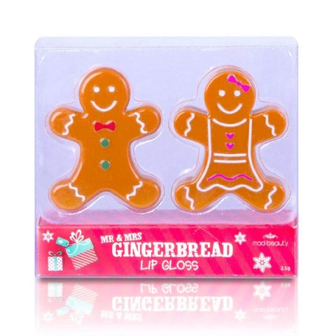Mr & Mrs Gingerbread Man Lip Gloss Duo - Vanilla Scent Mad Beauty (Set of 2)